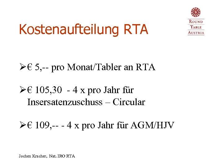 Kostenaufteilung RTA Ø € 5, -- pro Monat/Tabler an RTA Ø € 105, 30