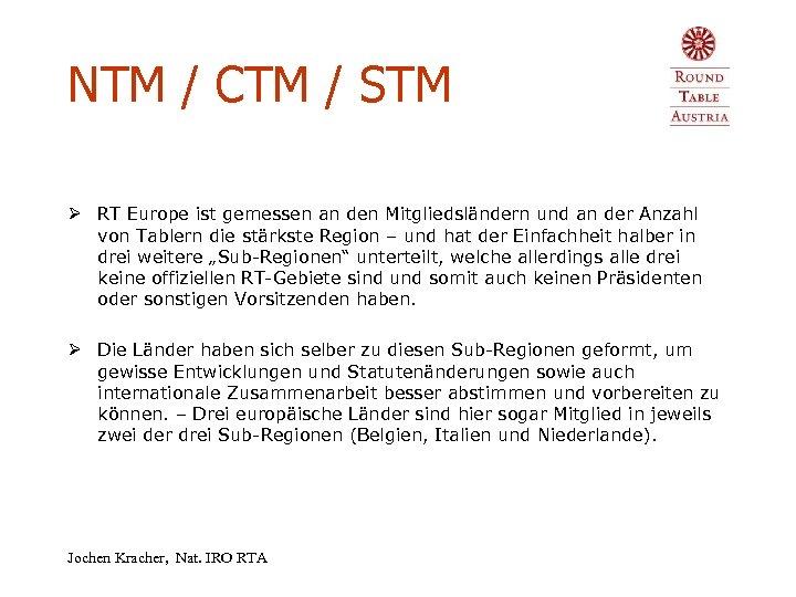 NTM / CTM / STM Ø RT Europe ist gemessen an den Mitgliedsländern und