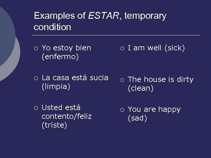 Examples of ESTAR, temporary condition ¡ Yo estoy bien (enfermo) ¡ La casa está