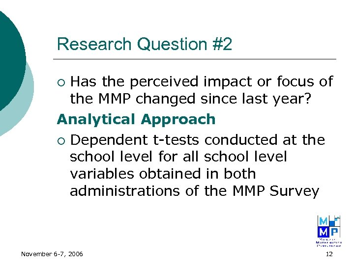 Research Question #2 Has the perceived impact or focus of the MMP changed since