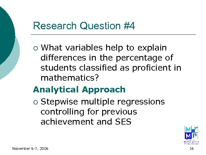 Research Question #4 What variables help to explain differences in the percentage of students