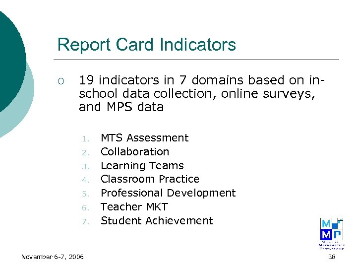 Report Card Indicators ¡ 19 indicators in 7 domains based on inschool data collection,
