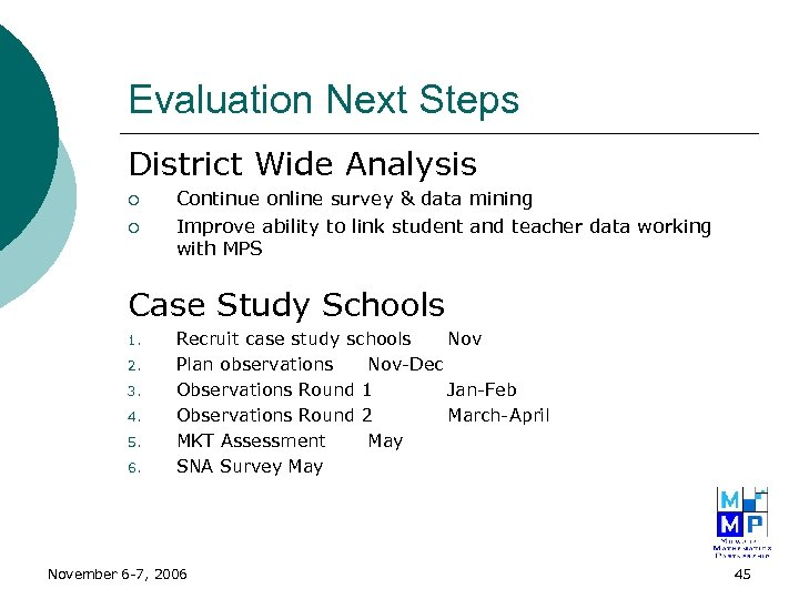 Evaluation Next Steps District Wide Analysis ¡ ¡ Continue online survey & data mining