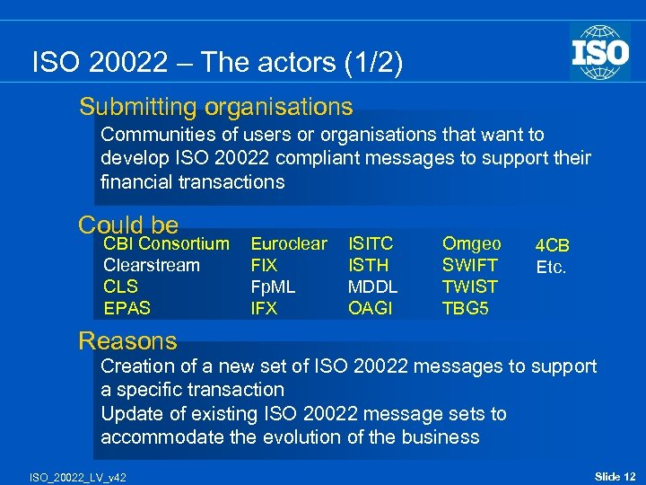 ISO 20022 – The actors (1/2) Submitting organisations Communities of users or organisations that