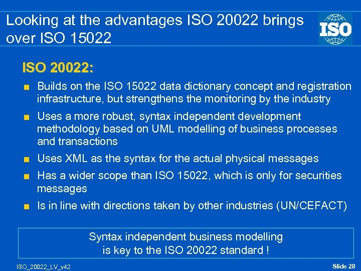Looking at the advantages ISO 20022 brings over ISO 15022 ISO 20022: < Builds