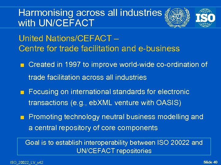 Harmonising across all industries with UN/CEFACT United Nations/CEFACT – Centre for trade facilitation and