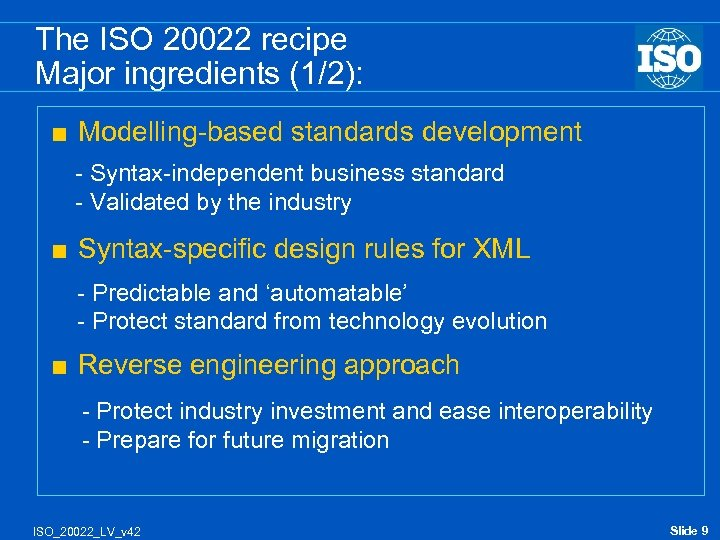 The ISO 20022 recipe Major ingredients (1/2): < Modelling-based standards development - Syntax-independent business