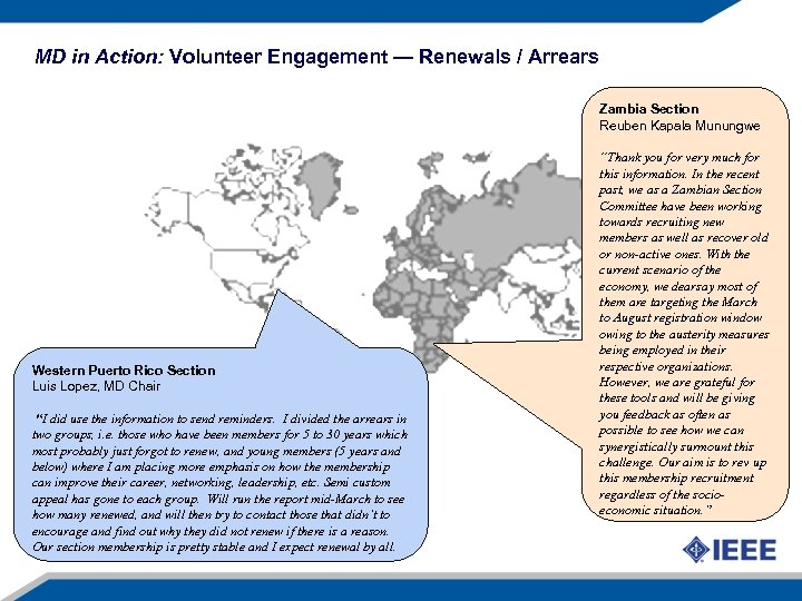 MD in Action: Volunteer Engagement — Renewals / Arrears Zambia Section Reuben Kapala Munungwe