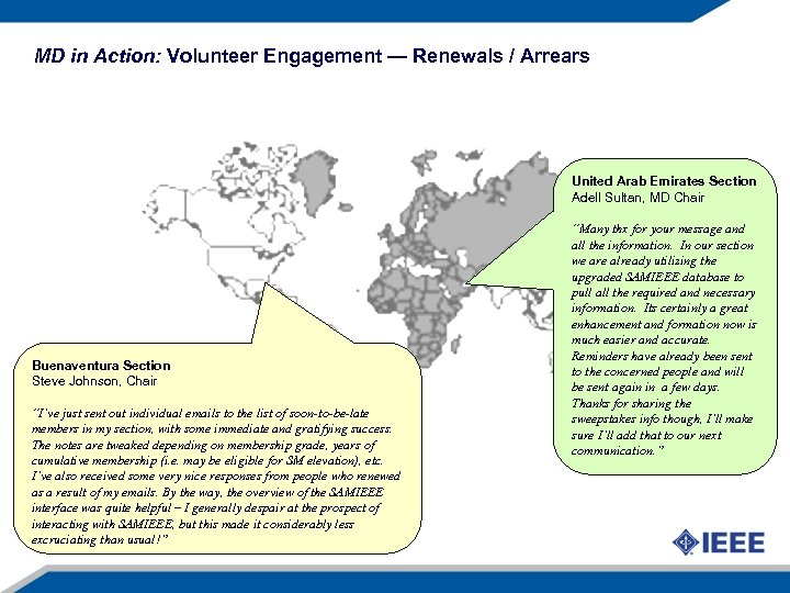 MD in Action: Volunteer Engagement — Renewals / Arrears United Arab Emirates Section Adell