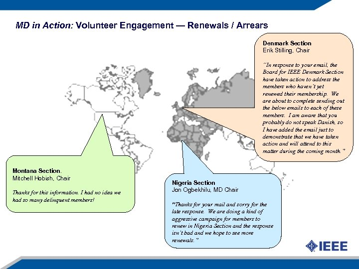 MD in Action: Volunteer Engagement — Renewals / Arrears Denmark Section Erik Stilling, Chair