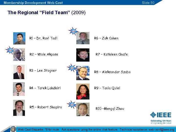"Membership Development Web Cast Slide 50 The Regional ""Field Team"" (2009) R 1 –"