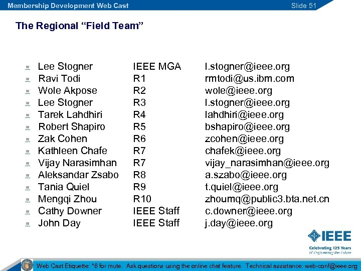"Membership Development Web Cast Slide 51 The Regional ""Field Team"" Lee Stogner Ravi Todi"