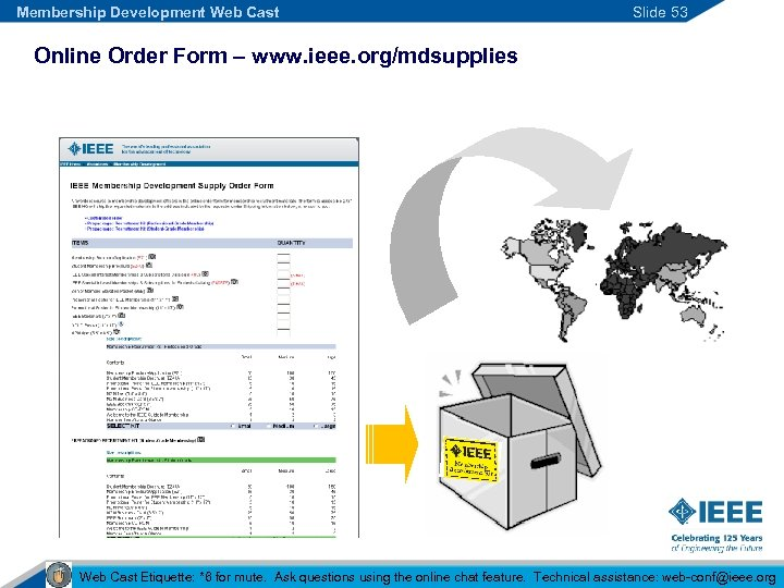 Membership Development Web Cast Slide 53 Online Order Form – www. ieee. org/mdsupplies Web