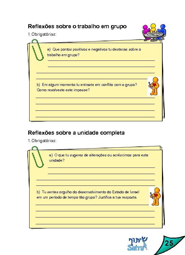 Reflexões sobre o trabalho em grupo 1. Obrigatórias: a) Que pontos positivos e negativos