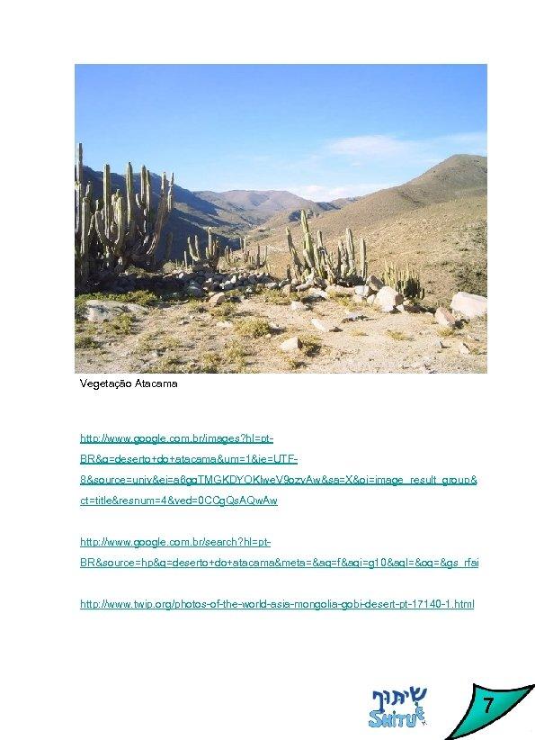 Vegetação Atacama http: //www. google. com. br/images? hl=pt. BR&q=deserto+do+atacama&um=1&ie=UTF 8&source=univ&ei=a 6 gq. TMGKDYOKlwe. V