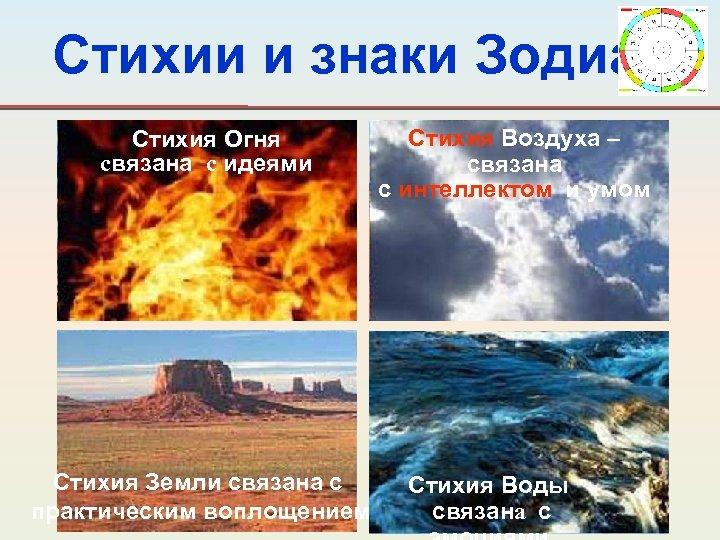 Стихии и знаки Зодиака Стихия Огня связана с идеями Стихия Земли связана с практическим