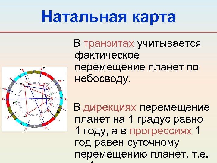 Натальная карта В транзитах учитывается фактическое перемещение планет по небосводу. В дирекциях перемещение планет