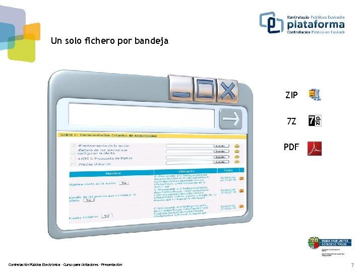 Un solo fichero por bandeja ZIP 7 Z PDF Contratación Pública Electrónica - Curso