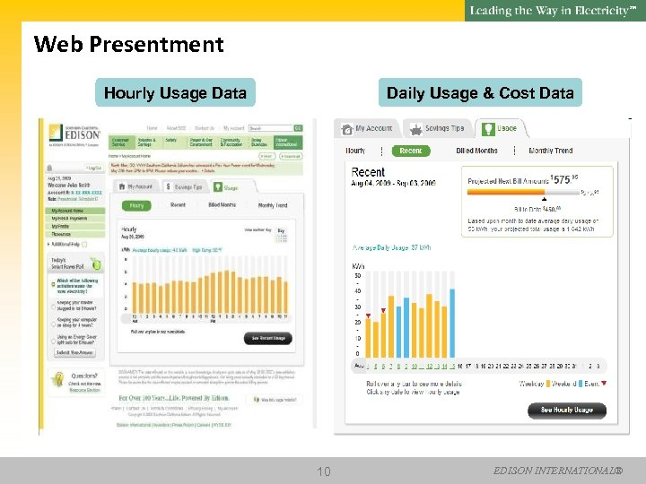 SM Web Presentment Hourly Usage Data Daily Usage & Cost Data 10 EDISON INTERNATIONAL®