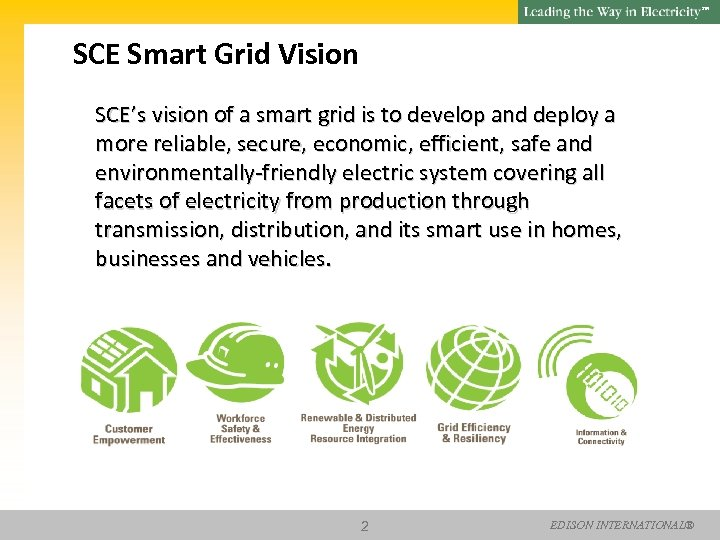 SM SCE Smart Grid Vision SCE's vision of a smart grid is to develop