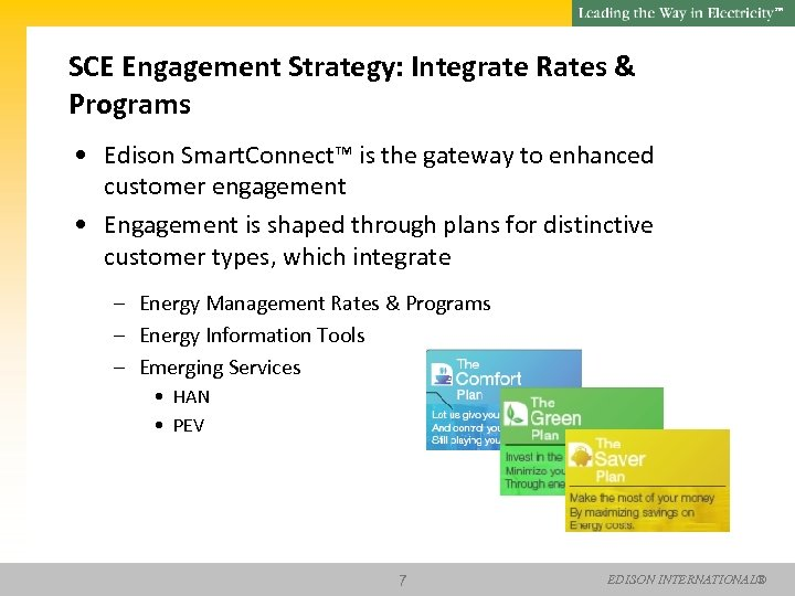 SM SCE Engagement Strategy: Integrate Rates & Programs • Edison Smart. Connect™ is the