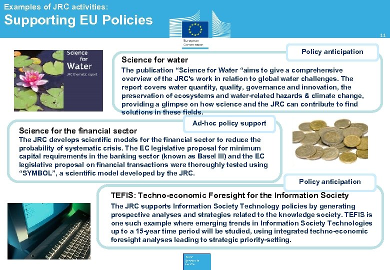 Examples of JRC activities: Supporting EU Policies 11 Policy anticipation Science for water The