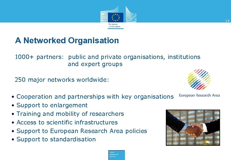 15 A Networked Organisation • 1000+ partners: public and private organisations, institutions and expert