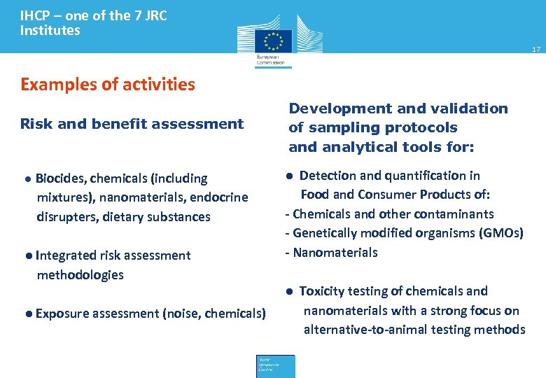 IHCP – one of the 7 JRC Institutes 17 Examples of activities Risk and