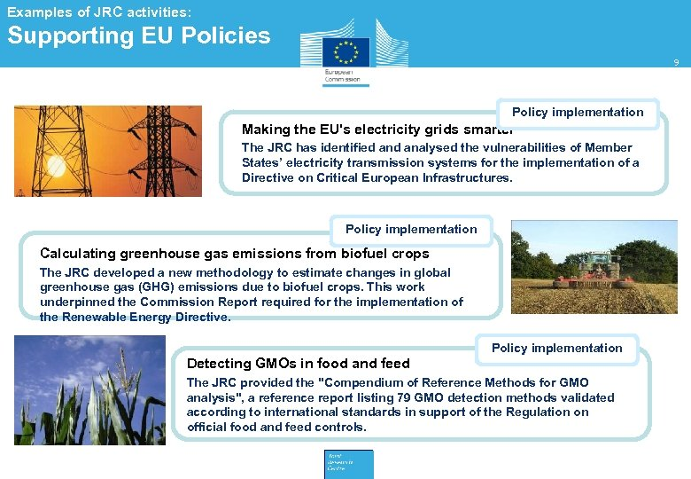 Examples of JRC activities: Supporting EU Policies 9 Policy implementation Making the EU's electricity
