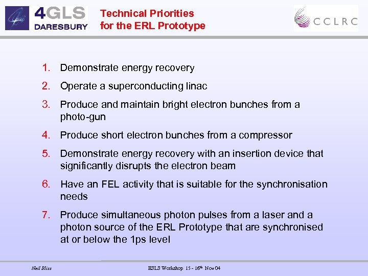 Technical Priorities for the ERL Prototype 1. Demonstrate energy recovery 2. Operate a superconducting