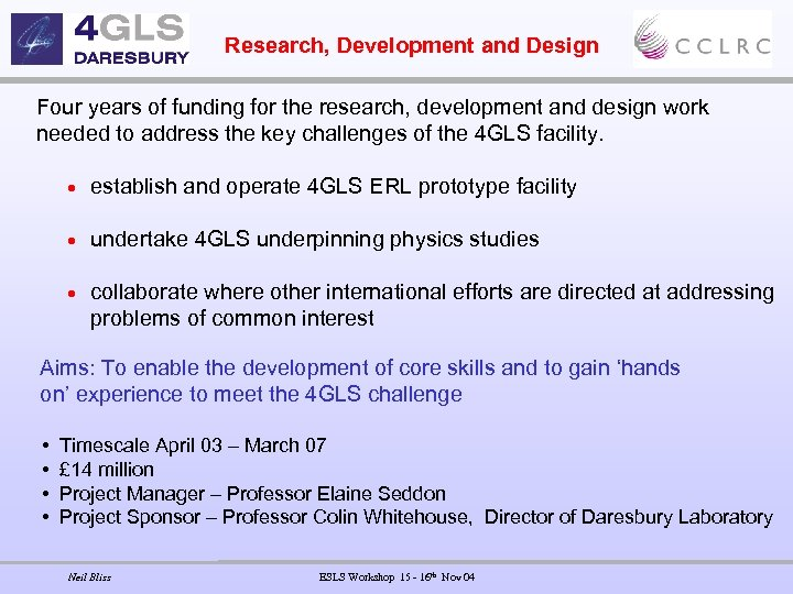 Research, Development and Design Four years of funding for the research, development and design