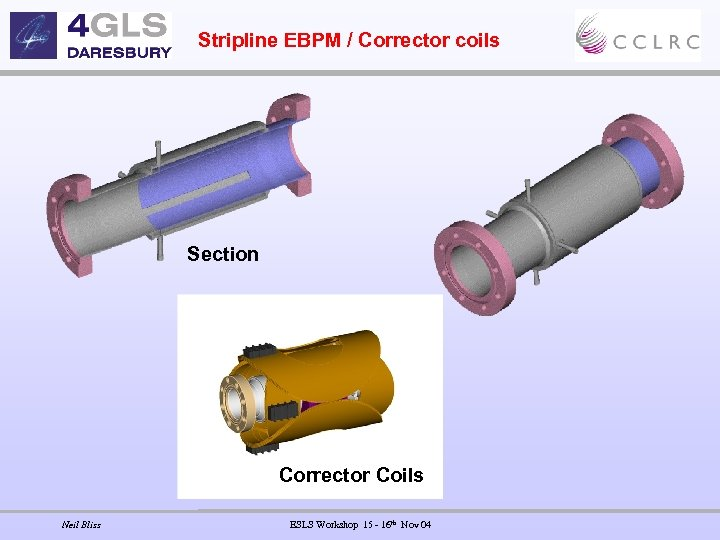 Stripline EBPM / Corrector coils Section Corrector Coils Neil Bliss ESLS Workshop 15 -