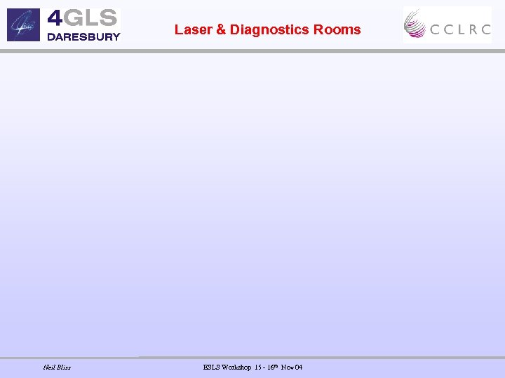 Laser & Diagnostics Rooms Neil Bliss ESLS Workshop 15 - 16 th Nov 04
