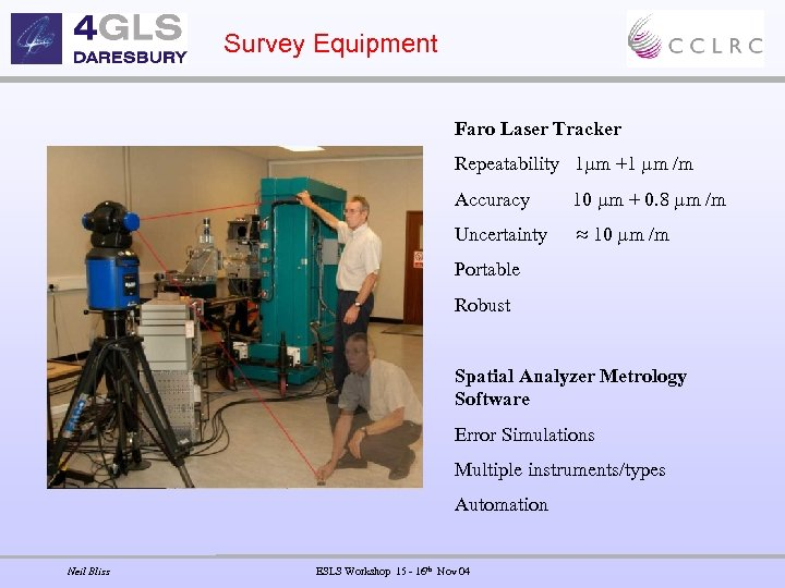 Survey Equipment Faro Laser Tracker Repeatability 1 m +1 m /m Accuracy 10 m