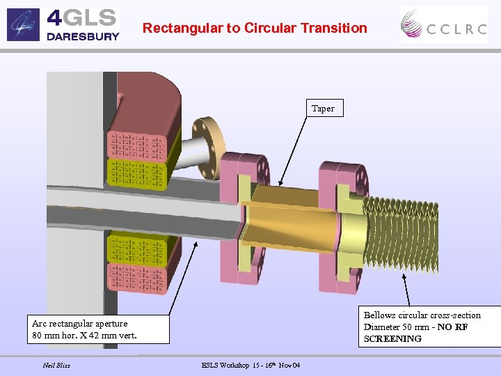 Rectangular to Circular Transition Taper Bellows circular cross-section Diameter 50 mm - NO RF