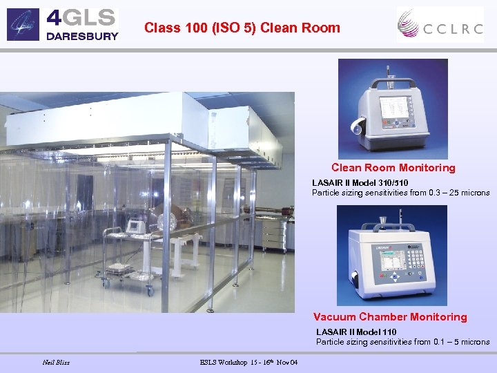 Class 100 (ISO 5) Clean Room Monitoring LASAIR II Model 310/510 Particle sizing sensitivities