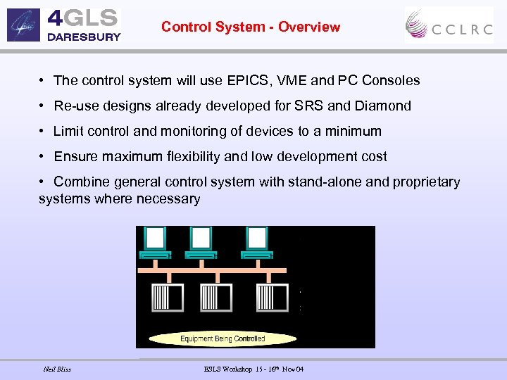 Control System - Overview • The control system will use EPICS, VME and PC