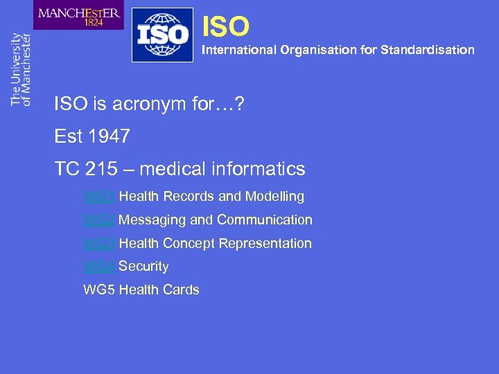 ISO International Organisation for Standardisation ISO is acronym for…? Est 1947 TC 215 –