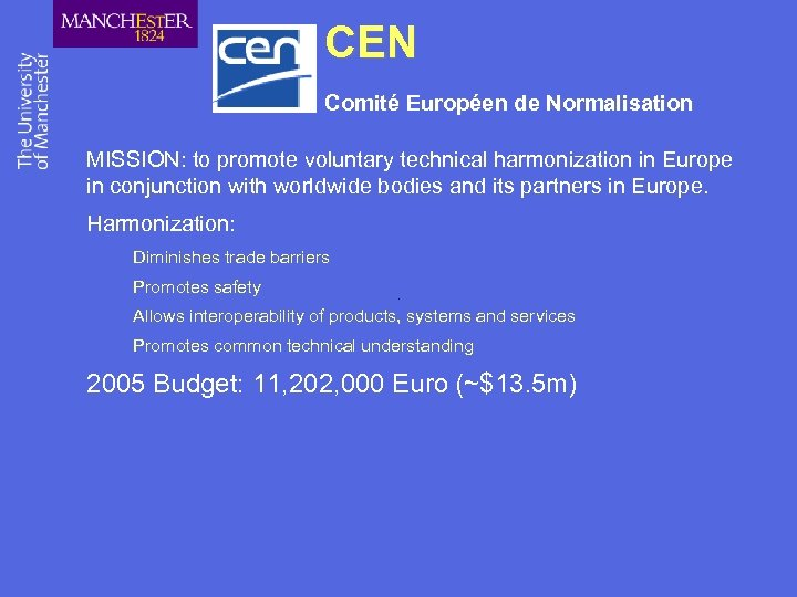 CEN Comité Européen de Normalisation MISSION: to promote voluntary technical harmonization in Europe in