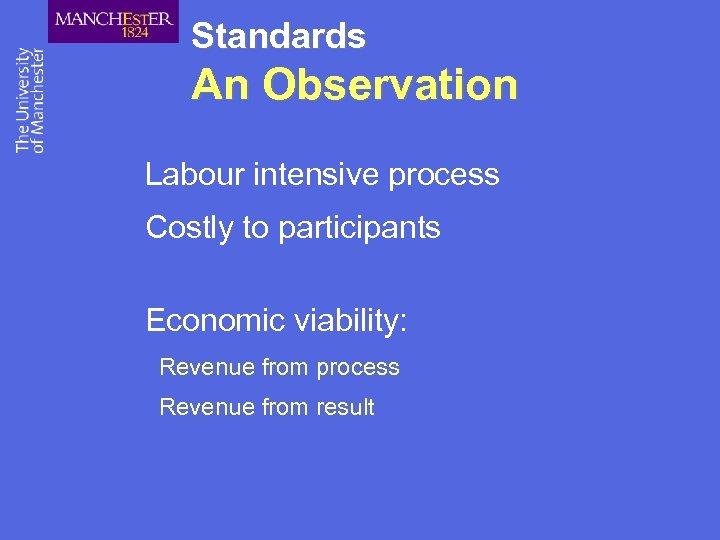 Standards An Observation Labour intensive process Costly to participants Economic viability: Revenue from process