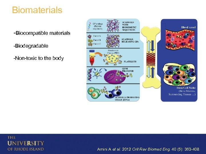 Biomaterials -Biocompatible materials -Biodegradable -Non-toxic to the body Amini A et al. 2012 Crit