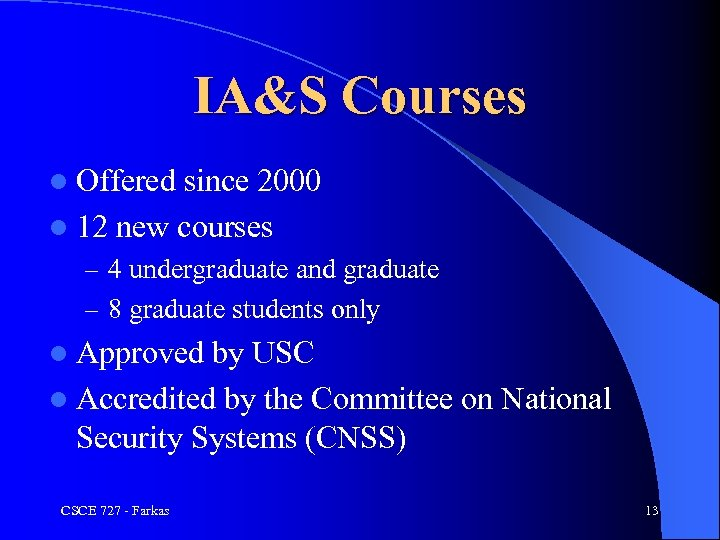 IA&S Courses l Offered since 2000 l 12 new courses – 4 undergraduate and