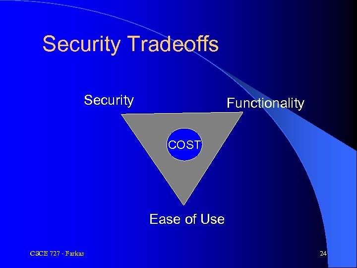 Security Tradeoffs Security Functionality COST Ease of Use CSCE 727 - Farkas 24