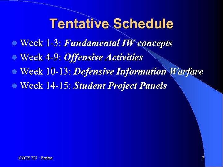 Tentative Schedule l Week 1 -3: Fundamental IW concepts l Week 4 -9: Offensive