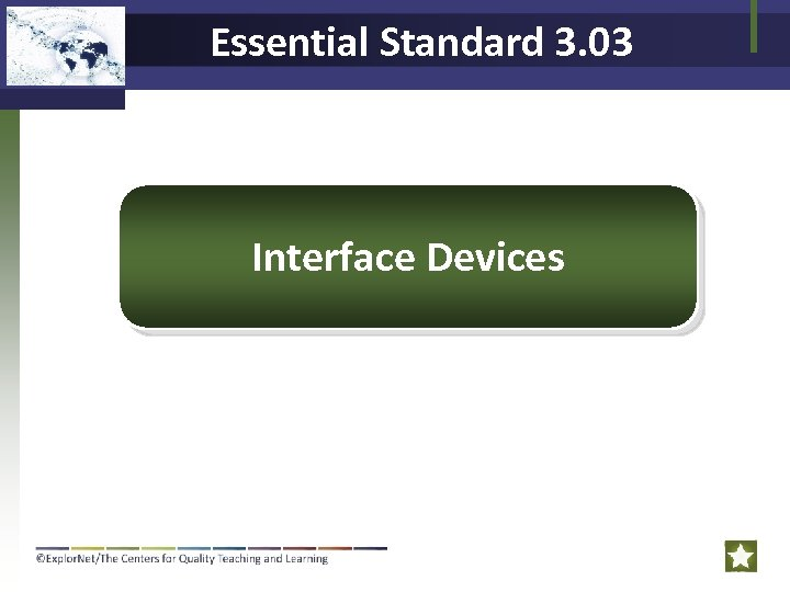 Essential Standard 3. 03 Interface Devices