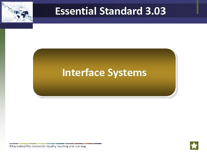 Essential Standard 3. 03 Interface Systems
