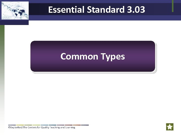 Essential Standard 3. 03 Common Types