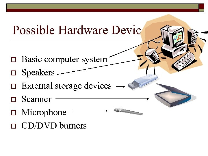 Possible Hardware Devices o o o Basic computer system Speakers External storage devices Scanner