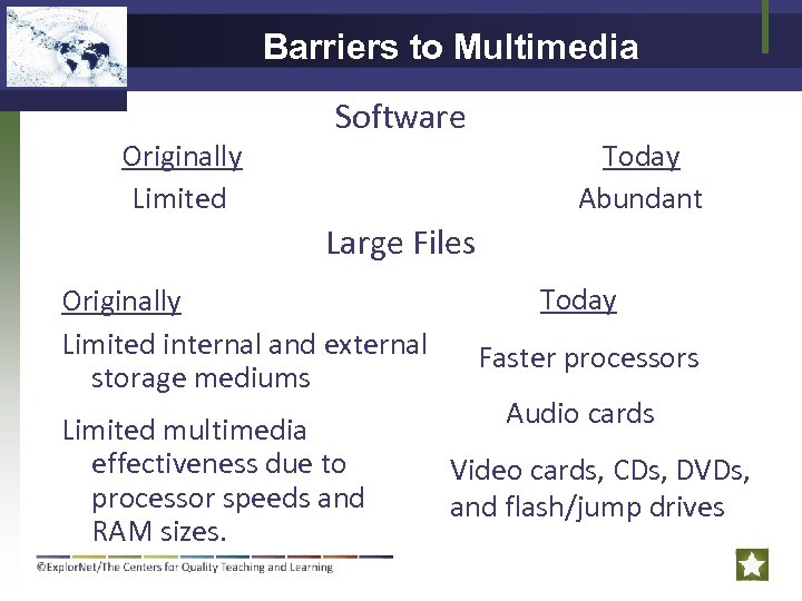 Barriers to Multimedia Originally Limited Software Today Abundant Large Files Barriers of Multimedia Originally