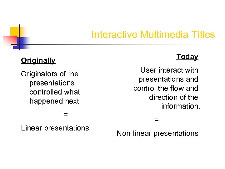 Interactive Multimedia Titles Today Originally Originators of the presentations controlled what happened next =